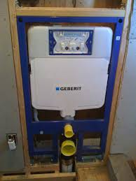 geberit in wall tank and frame unit roughed in with supply and