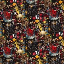black henry fabric with skeletons celebrating skulls