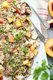 grilled chicken and peach quinoa salad foodness gracious