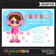 winter pool party personalized party invitation