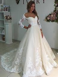 Wedding Dress Ivory Sheer Neck Long Sleeves Ivory Wedding Dress With Lace Wedding