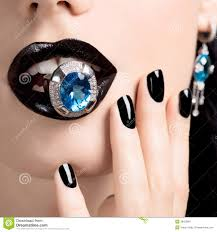 woman beautiful hand painted white nails stock photos images