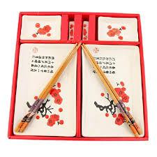 kit cuisine japonaise service à sushis japonais décor motifs fleurs de cerisier amazon