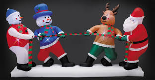christmas inflatables santa and friends tug of war christmas