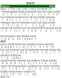 tutorial gitar lagu virgoun bukti not angka lagu bukti virgoun pianika recorder keyboard suling