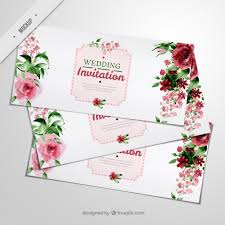 wedding invitations freepik wedding invitations with watercolor roses and leaves psd