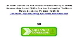 The Miracle Book Pdf Free Pdf The Miracle Morning For Network Marketers Grow Yourself Fir