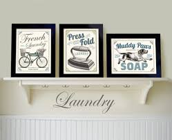 Wall Art For Powder Room - laundry room art decor set of 3 prints french country wall art