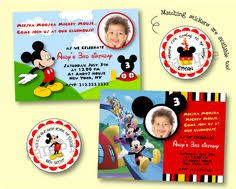 personalized mickey mouse clubhouse birthday photo invitations