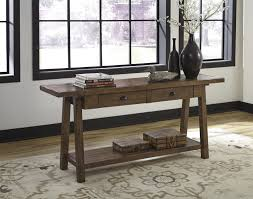 Arts And Crafts Sofa Table by Ashley T863 4 Dondie Rustic Brown Finish Sofa Table With Two Drawers