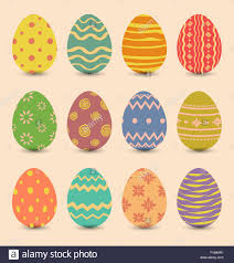 easter set ornamental eggs with shadows stock vector