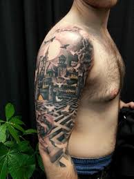 cool tattoos for guys on back shoulder free rising sun