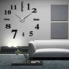 diy livingroom cozroom large silver 3d frameless wall clock stickers