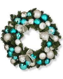 deals on 30 silver and blue ornament wreath national tree