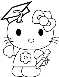 kitty graduation coloring pages kitty graduation