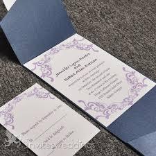 pocket invites beautiful purple vines blue pocket wedding invitations iwps052