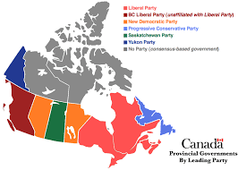 Map Of Canada Cities And Provinces by Map Of Canadian Provinces By The Ruling Political Party 1358x971