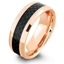 gold wedding band 18k gold wedding ring with black carbon fiber inlay