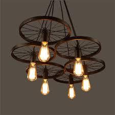 Iron Ceiling Light Wrought Iron Wheel Pendant Light Vintage Industrial Lighting Loft