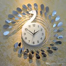 fashion peacock design silent wall clock creative craft clocks for