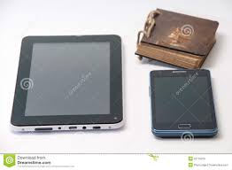 android phone and android tablet on background stock