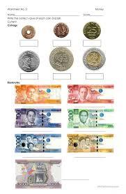 money philippine coins and bills worksheet free esl printable