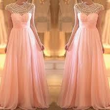 high neck rhinestones pearl pink a line floor length prom dress
