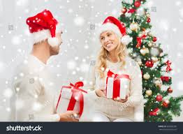 christmas holidays people concept happy couple stock photo