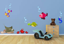 fish and sea creatures fabric wall decal set ocean wall zoom