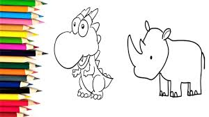 kids learn how to draw dinosaur and rhino children learn draw
