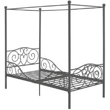 White Metal Canopy Bed by Amazon Com U0027s Grey Metal Canopy Bed Twin Sized Princess Gray