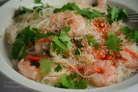 cold shrimp and rice noodle salad