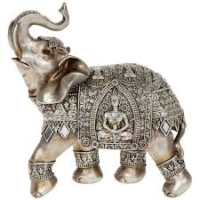 silver elephant with engraved buddha ornament decor new