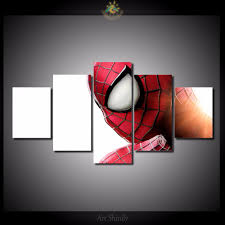 online get cheap spray spiderman aliexpress com alibaba group 5 pieces set spiderman wall art paintings picture print on canvas for home decoration wall