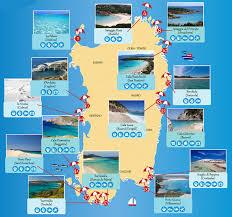 Sardinia Map Mapa Da Sardenha Com Praias Em Destaque Sardenha Sicilia