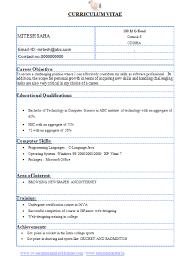 Cse Resume Format Resume Format For Science Students Resume Format