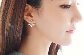 front back earrings front and back earrings gold vermeil 8 zircon ear jackets