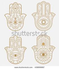 elegant ornate henna tattoo hamsa hand stock vector 458899867