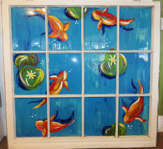 Sea Life Home Decor Hand Painted Window Koi Fish Fish Painting Sea Life