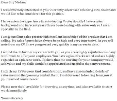 auto dealer cover letter example learnist org
