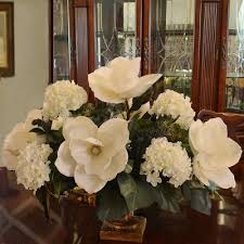 flower arrangements for home decor white magnolia and hydrangea large silk flower arrangement ar344