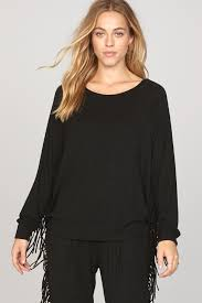 black fringe sweater take a trip fringe sweater black sands amuse society