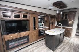 grand design reflection 337rls rear living tv fireplace kitchen