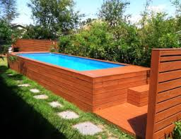 Long Ground Pools Ideas With Wooden Cover Deck Swimmig Pool