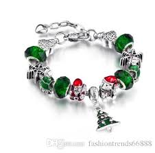 silver bead bangle bracelet images Pandora style 2017 silver green crystal bead christmas father bear jpg