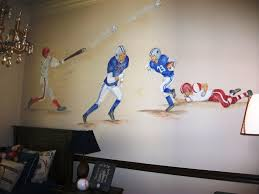 childrens painted wall murals cathie s murals childrens murals sports baseball and football players