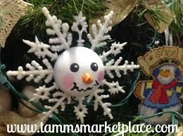 snowman on white glitter snowflake ornament mko004 tamm s
