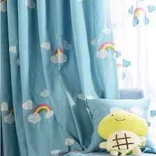 Teal Nursery Curtains Rainbow Baby Blue Embossed Nursery Curtains