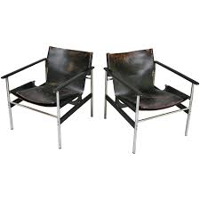 Vintage Leather Chairs Vintage Chrome And Leather Lounge Chairs By Charles Pollock For