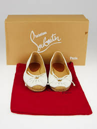 christian louboutin white leather gala espadrille flats size 4 5